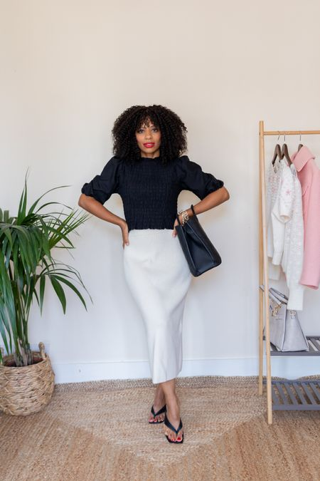 White knit midi-skirt and black top. Monochrome Autumn look.   #LTKstyletip #LTKSeasonal #LTKeurope