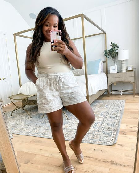 Linen shorts fit true to size and body suit smooths you out @liketoknow.it #liketkit http://liketk.it/3hWx2 #LTKunder100 #LTKunder50