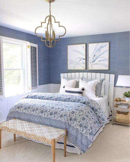 Loving this art pair in my daughter's blue and white bedroom! Ceiling light, bench, bedding and other sources are linked too. (home decor ideas)  #LTKunder50 #LTKhome #LTKunder100