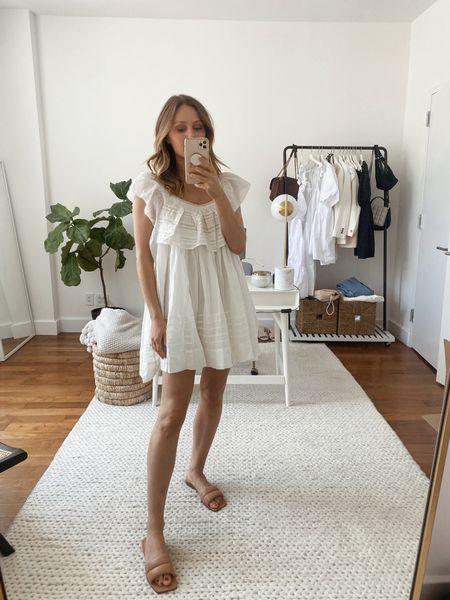 White mini dress under $100 (TTS)  Summer dress, beach dress, vacation outfit, nude quilted sandal  #LTKSeasonal #LTKunder100 #LTKshoecrush
