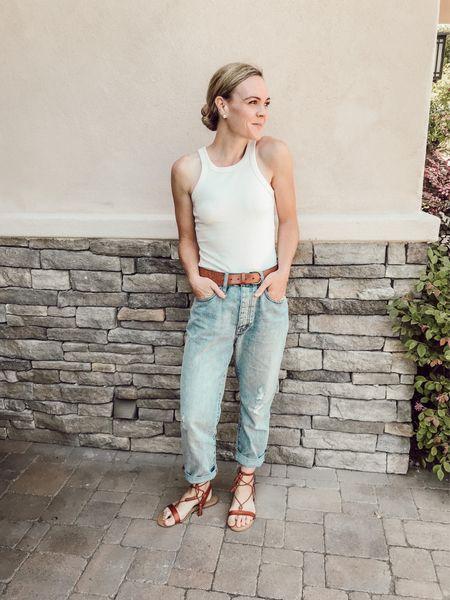 Ribbed tank, boyfriend jeans, lace-up sandals. #momstyle   #LTKunder50 #LTKSeasonal