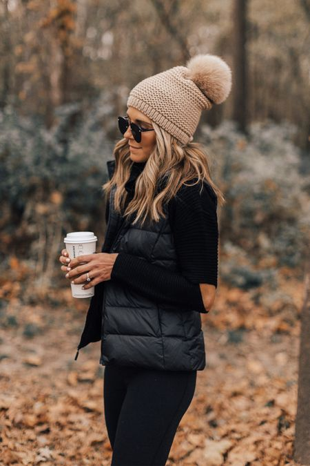 Pom beanie exact brand linked just slightly different color this season. Puffer vest wearing size small