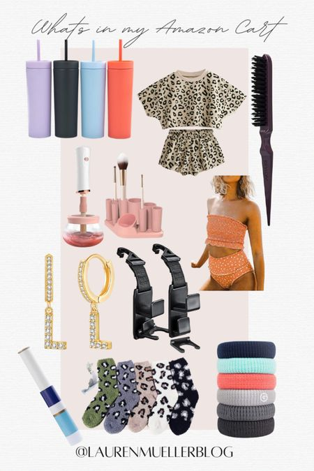 what's in my Amazon cart // Amazon deals and steals // reusable cups // leopard sweatsuits // best hair ties // initial earrings // makeup brush cleaner   http://liketk.it/3amTW #liketkit @liketoknow.it
