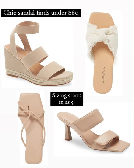Summer sandal finds at various heel heights at @nordstrom under $60! And for my small shoe sized gals these all come in size 5 too. The wide strap heel is great for normal to wider feet bc it's fully adjustable, and the elastic band wedge seems so comfortable due to the stretchy straps. The flat slides I picked here all have cushioned insoles for comfort! http://liketk.it/3go0W #liketkit @liketoknow.it