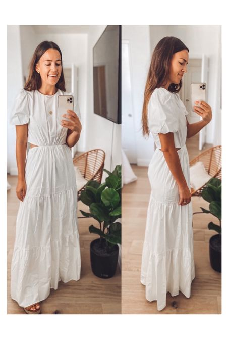 """Front and side view of the dress — thinking it's a keeper and I'll hem it so I can wear it more. I'm 5'4"""" and went with my smaller size for this. Fully lined 💯"""