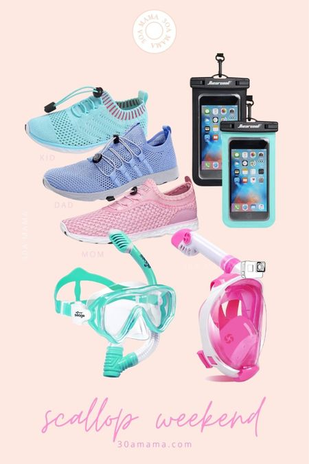 Apalachicola / Port St Joe Scallop weekend essentials on 30A Mama -  snorkel with goggles  Kid snorkel mask Water shoes for kids  Water shoes for mom and dad iPhone waterproof case  #LTKswim #LTKfamily #LTKtravel