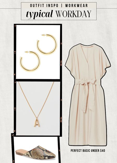 WORKWEAR INSPO: Typical day in the office  — Neutral midi dress — Gold hoops — Gold initial necklace — Snakeskin slide on mules  #LTKstyletip #LTKunder100 #LTKworkwear