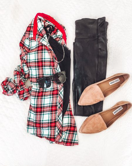 """Another outfit idea using SPANX faux leather leggings:  Pair with a Plaid flannel , cami/tank, flats and some cute accessories.  Wearing spanx leggings in petite small - they run long and I'm 5'3"""". Also recommend sizing up if between sizes.          Faux leather leggings , leggings outfit , fall fashion , fall outfits , plaid shirt , plaid flannel , button up shirt , button down , spanx leggings , nordstrom style , old navy , amazon fashion , target fashion , target finds , target style #ltkholiday , #ltkunder50  #LTKSeasonal #LTKunder100 #LTKshoecrush"""