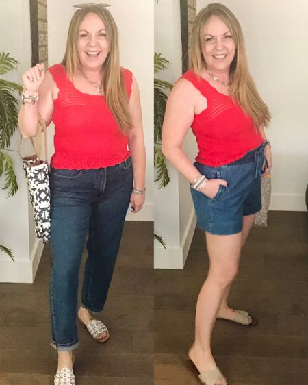 http://liketk.it/3i4lL #liketkit @liketoknow.it #LTKstyletip #LTKunder50 #LTKworkwear Crocheted sweater tank, straight leg jeans, pull on denim shorts, embellished sandals; free assembly