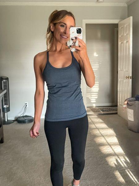 Amazon Lulu Dupe Tank Athletic Tank Women Tank Fitness Wearing an XS in the color grey blue    #LTKunder50 #LTKGifts #LTKfit