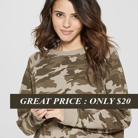 """Looking for an affordable and cute spring sweatshirt? This camo sweatshirt is only $20!  It also comes in other colors for the same great price.  http://liketk.it/2AZJC #liketkit . . TO SHOP: Click the link in my profile or... 1. Download the free @liketoknow.itapp 2. Search for me @dailystylefinds 3. Click """"follow"""" and shop all the items in this outfit. . . . #LTKspring #LTKunder25 #LTKstyletip #target #bestdeals #camo #camosweatshirt #sweatshirt #springsweatshirt #dealoftheday #bestdealsatarget #springtrends #under40style #fashionblogger #dailystylefinds #dailydeals #popular #womencasualtrends #targetstyle"""