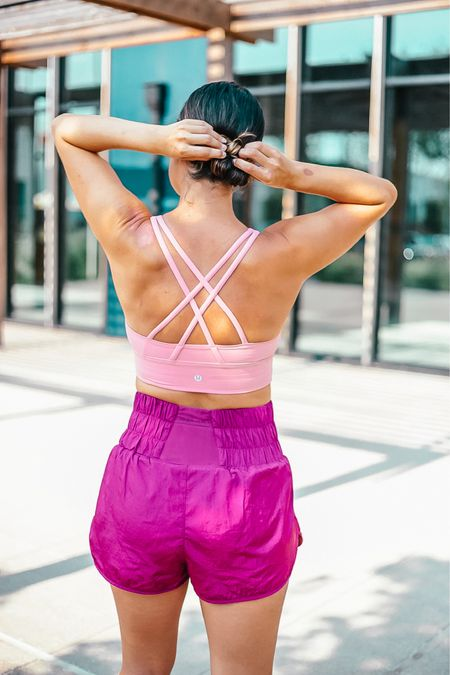 """the perfect running attire - sports bra in color """"pink fluff"""" and shorts in color """"açaí""""   #LTKfit #LTKunder50 #LTKunder100"""