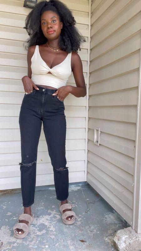 Linen cut out twist front top, black high rise deconstructed mom jeans, tan fur kookaburra sandals and a gold Kendra Scott necklace.     #LTKunder100
