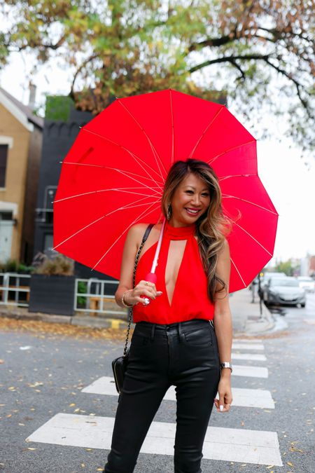 Night out outfit, red bodysuit, Gno style, revolve outfit   #LTKSeasonal #LTKstyletip