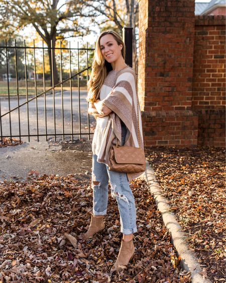 Ankle Booties, Cape Sweater, Fall Family Photo Outfits, Booties Outfit, Fall Sweaters  One of my favorite fall sweaters from last year! My brown booties are still in stock. Cape sweater is old, so I linked 3 similar poncho sweater options for your to recreate this look.   #fallbooties #bootieswomen #bootiessuede #suedebooties #anklebooties #brownbooties #fallbooties