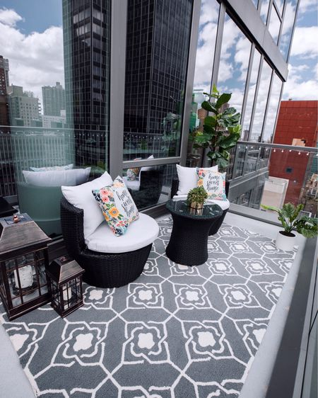@nextwithnita here! Welcome to our balcony! ☀️ We just recently furnished this space to gear up for spring/summer and I'm truly loving the breath of fresh air that we get out here especially during this time. So grateful for it! 🙏🏼 The lanterns are solar powered and light up the space each night. The rug is an indoor/outdoor rug and has held up pretty well in New York weather considering it just snowed here the other day! Everything is linked in the @liketoknow.it app! #LTKathome with @nextwithnita #StayHomeWithLTK http://liketk.it/2OCzA #liketkit #LTKhome #LTKsalealert