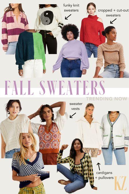 Fall sweaters trending now - sweater vests, funky knit sweaters, cardigans, pullovers, crop sweaters, cut-out sweaters!  #LTKstyletip #LTKSeasonal #LTKcurves