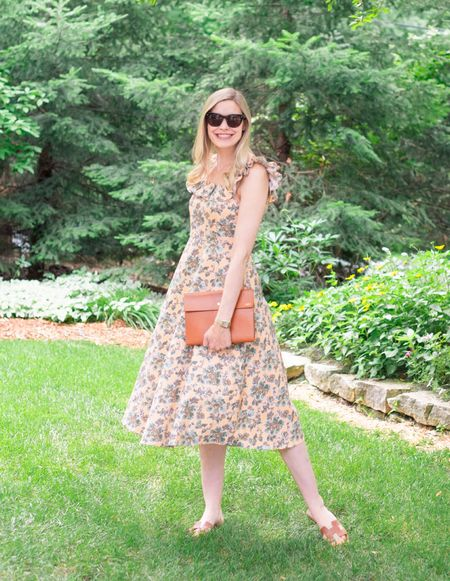 The prettiest dress for summer that's on major sale. Save an extra 40% off. Recommend sizing one size down.  . . . Summer dress, summer sale, sundress, sun dress, floral dress, ruffle, midi dress, Ann Taylor, summer outfit   #LTKstyletip #LTKSeasonal #LTKunder100