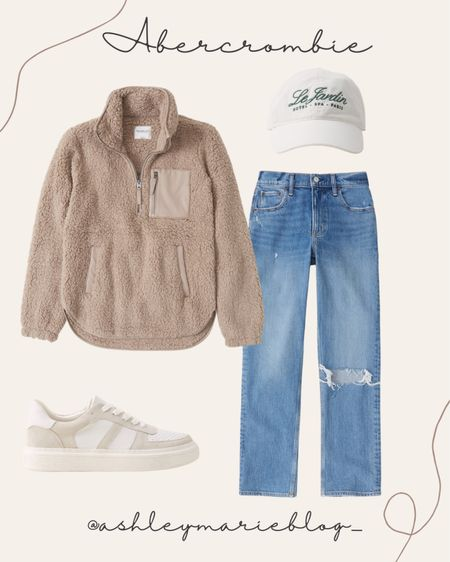 Casual fall outfit idea with relaxed straight leg jeans, quarter zip Sherpa, sneakers, and hat  #LTKstyletip #LTKunder100 #LTKSale
