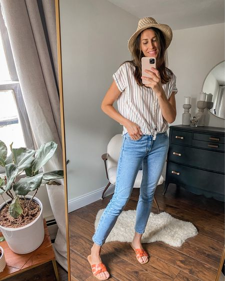 Madewell top, loose fit but wearing tts, xs. Levi's tts, wearing 25. Linking similar hat with rave reviews!  #LTKstyletip #LTKunder100 #LTKunder50