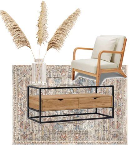 mid century modern coffee table. mid century modern chair. living room decor. home decor. decor. pampas grass.  #LTKhome #LTKsalealert #LTKSeasonal