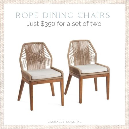 Run, don't walk! I expect these rope dining chairs to sell out today! Use code SHIP89 for free shipping! - dining chairs, dining room chairs, dining room furniture, neutral dining chairs, neutral dining room, side chairs, coastal dining chairs, coastal dining room, woven chairs, woven chair dining, coastal side chairs, rattan dining room chairs, coastal chairs, rope chairs, rope dining chairs, marshalls finds, tj maxx finds, affordable dining chairs  #LTKhome #LTKfamily