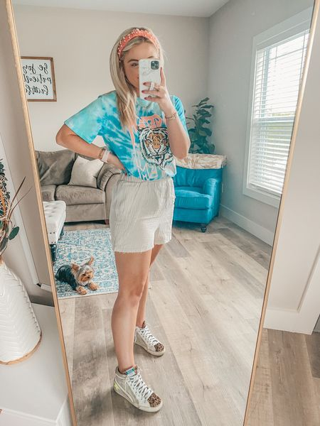 The cutest pearl headband, graphic tee, and shorts for summer!  Shorts: S Tee: M  http://liketk.it/3hPbd @liketoknow.it #liketkit #LTKunder50 #LTKstyletip