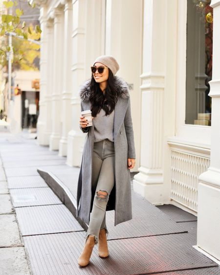 All grey outfit with coat and cashmere.   #LTKstyletip #LTKSeasonal