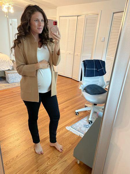 Bump friendly fall style with Jcrew sweater cardigan, madewell maternity jeans, and a target maternity t-shirt   #LTKunder100 #LTKbump #LTKSeasonal