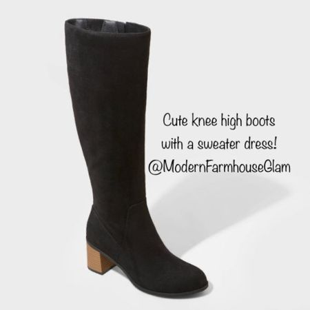 Cute knee-high boots to wear with a sweater dress or casual dress or jeans. I just ordered these and thinking about having my daughter and I wear them for our Christmas card photos with a sweater dress. Affordable boots $49, target boots, universal thread, Christmas outfit, women's Christmas gift, fashion, shoes, boots, modern farmhouse Glam's, Nordstrom, target.  #LTKHoliday #LTKshoecrush #LTKGiftGuide