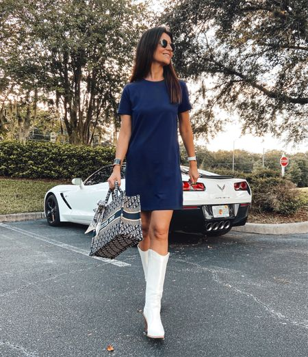 Dress & white boots 👢  This dress is one of my favorite items still in stock and on sale @saintandsofia  Outfit details :  #LTKworkwear #LTKeurope #LTKsalealert