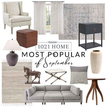 Home decor favorites, rug, sofa, couch, curtains, drapes, nightstand, chair, horse, vase, pillow, lamp, ottoman, stool, pouf    #LTKfamily #LTKGiftGuide #LTKhome