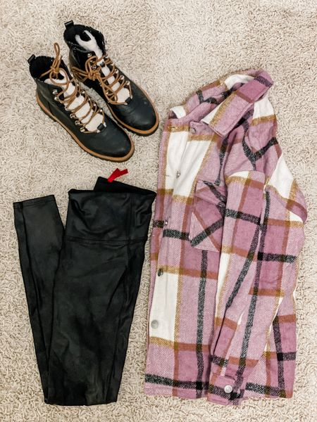 Amazon fashion finds   #ltkshoecrush #fallfashion #shacket #leatherleggings #boots #ltkunder100   #LTKstyletip #LTKHoliday #LTKunder50