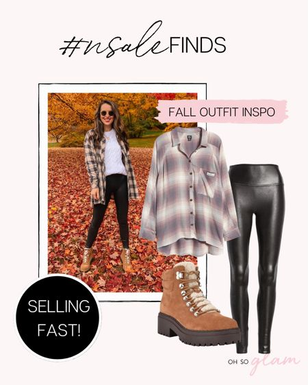 Another favorite fall outfit you can recreate with pieces on sale at the Nordstrom Anniversary Sale! I got these Spanx faux leather leggings years ago during this sale and have gotten such great use out of them! I'm also still loving oversized flannels (worn unbuttoned over a tee or light sweater) + these hiking boots are such a great buy!   #LTKSeasonal #LTKstyletip #LTKsalealert