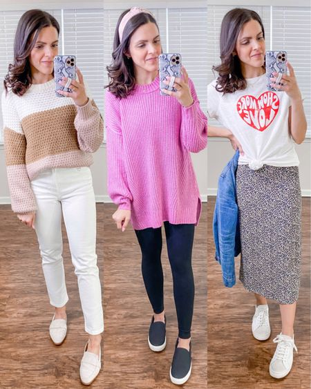 Valentine's Day inspired casual outfits! http://liketk.it/37G2f #liketkit @liketoknow.it #LTKVDay #LTKstyletip  Colorblock sweater, white straight jeans (size down 1), pink oversized sweater (tts), black leggings (tts), Valentine's heart tee (sized up for room), leopard skirt, mules, black sneakers (tts), white distressed sneakers (tts), pink knot headband