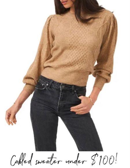 Cozy Fall Sweater, Fall Outfit Idea, I love a Puff Sleeve! Dark Jeans, Dark Denim  #LTKstyletip #LTKunder100 #LTKSeasonal