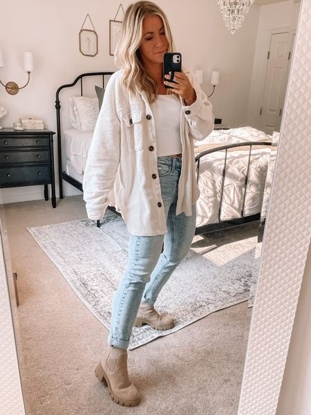 This Shacket looks similar to the free people ruby jacket but for a fraction of the cost. It's currently under $40 and comes in a few colors! It's perfect for layering now and Into the fall   #LTKunder50 #LTKsalealert #LTKstyletip