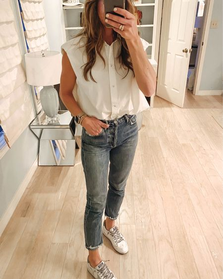 Mondays in my mom jeans! Added a crisp white button down with a little shoulder detail! It's under $30 and fits tts! Everything linked via @liketoknow.it  http://liketk.it/3dj5f #liketkit @liketoknow.it #LTKunder50 #LTKunder100 #LTKstyletip