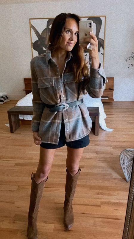 Belt cargo shorts boots and plaid shacket   #LTKshoecrush #LTKSeasonal