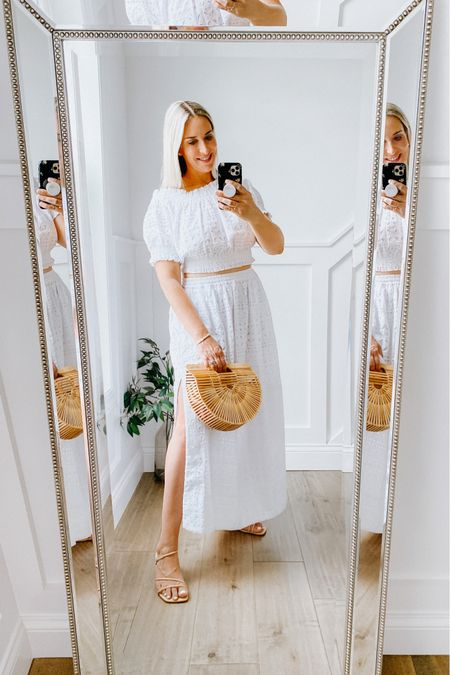 2 piece skirt set  JCrew White eyelet skirt with pockets. Side slits. Runs large. Amazing quality. Size down.   Crop eyelet lace top. Can be worn on the shoulder or off. Runs large. Size down.   White dress, wedding guest dress, summer outfit, boho set, JCrew, maxi skirt   #LTKunder100 #LTKstyletip #LTKsalealert