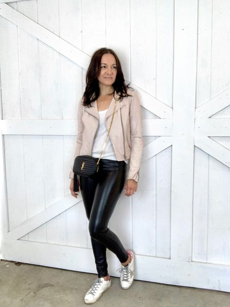 Faux leather leggings casual look for spring.  Wearing my fave white tank in XS (runs TTS) and also comes in black.  These are my go-to faux leggings (I like them more than SPANX).  On sale under $100.  Size up. http://liketk.it/3eeiW #liketkit @liketoknow.it You can instantly shop all of my looks by following me on the LIKEtoKNOW.it shopping app