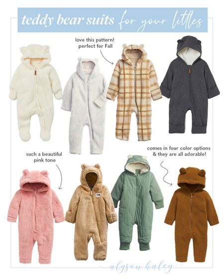 Cold weather suits for babies, teddy bear onesies for your littlest, winter outerwear for girls and boys   #LTKbaby #LTKkids #LTKSeasonal