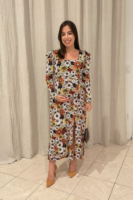 Super cute floral midi dress! Fabric is extremely soft and very forgiving, great for fall and for the bump. Wearing a size XS    #LTKunder100 #LTKbump #LTKSeasonal