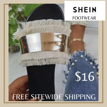 Metal decor fringe slide sandals from Shein and free sitewide shipping today   http://liketk.it/3hZcN #liketkit @liketoknow.it #LTKunder50 #LTKshoecrush #LTKstyletip You can instantly shop my looks by following me on the LIKEtoKNOW.it shopping app