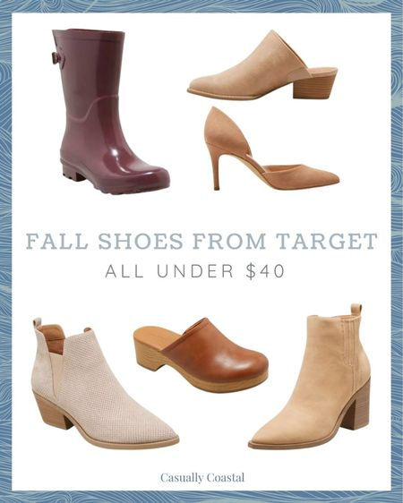 Loving Target's collection of fall shoes, which include beautiful, neutral booties, mules, rain boots, and heels for work! If you're wanting to dip your toe in the water with this season's clog trend, this is a great inexpensive option! All of these come in multiple colors so click on through to check each of them out! - Target finds, Target fashion, target booties, target mules, target rain boots, target rubber boots, Target heels, affordable booties, affordable clogs, affordable rain boots, affordable mules, neutral booties, fall fashion, fall shoes, fall booties  #LTKshoecrush #LTKSeasonal #LTKunder50
