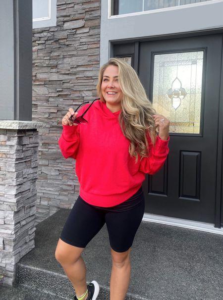 Fabletics workout set Red hoodie Fabletics shorts Biker shorts Women's sunglasses Nordstrom sale shoes   #LTKsalealert #LTKshoecrush #LTKfit