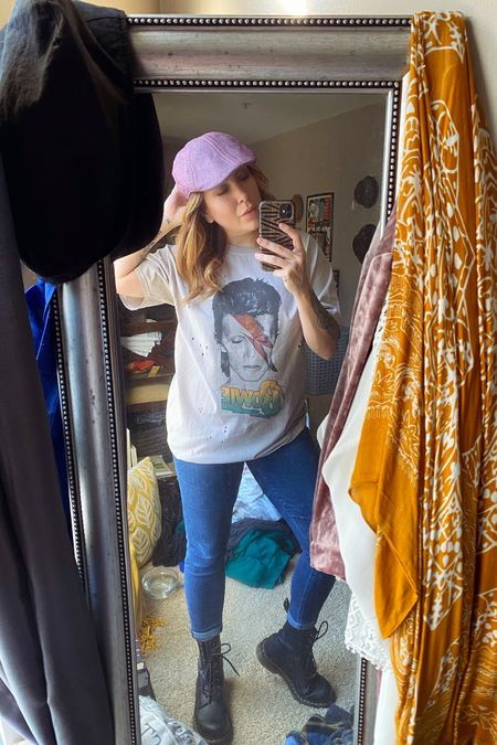 http://liketk.it/35FmW Casual Sunday in this cute distressed Bowie tee. Topped it with this slick flat cap and boots. 100% me, 0% fussy. #liketkit @liketoknow.it