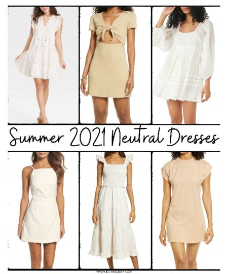 Summer 2021 neutral dresses!   Obsessed with simple neutral dresses for this summer. Add a simple sandal or sneaker and be set for a long but fun summer day ☀️  ••••••••••••••••••••  Summer, summer style, summer fashion, summer dresses, beige dress, white dress, tan dress, brown dress, beige dresses, tan dresses, white dresses, brown dresses, summer dress ideas, summer outfits   #LTKstyletip #LTKunder100 #LTKSeasonal
