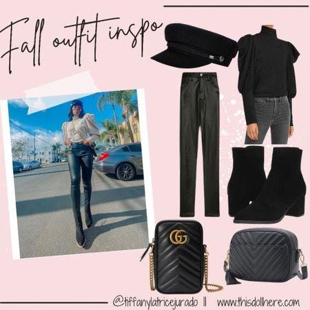 Fall outfits, mock sweater, sweater, black boots, suede boots, booties, crossbody bag, black bag, designer handbag, paperboy hat, hat, tiffany latrice jurado  #LTKstyletip #LTKSeasonal #LTKworkwear