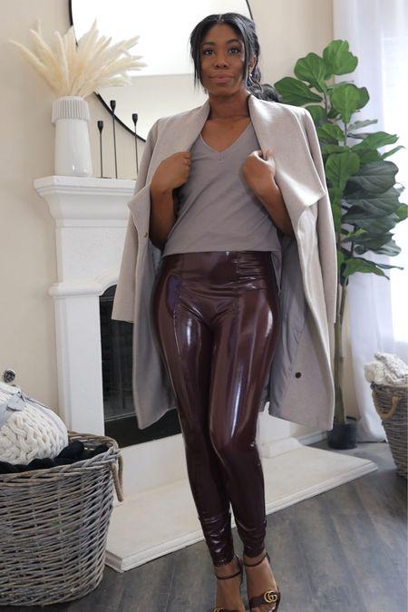 Spanx leggings, padded shoulder t shirt, coat, fall fashion, fall outfits